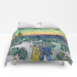 Couple Walking among Olive Trees, Vincent Van Gogh Comforters