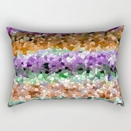 Mosaic Layered Flower Garden Rectangular Pillow