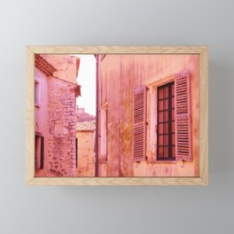 Ancient pink village Framed Mini Art Print