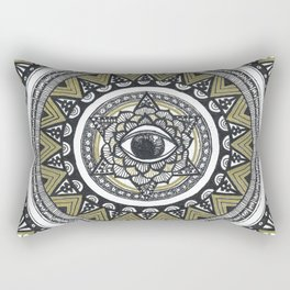 Golden Eye Mandala Rectangular Pillow