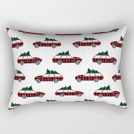 Plaid station wagon suv christmas tree vintage inspired christmas pattern Rectangular Pillow