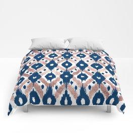 Artsy Modern Rose Gold Navy Blue Ikat Geo Comforters