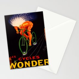 1923 Vintage Les Cycles Wonder Electric Style French Bicycle Poster Stationery Cards