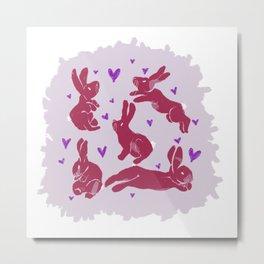 Bunny love - Strawberry edition Metal Print