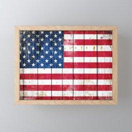 Distressed American Flag On Wood Planks - Horizontal Framed Mini Art Print