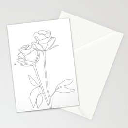 Two Minimal Roses Stationery Cards