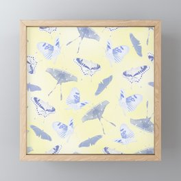 Blue Butterflies on Yellow Framed Mini Art Print