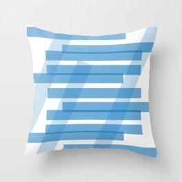 Electric Blue Slats Throw Pillow