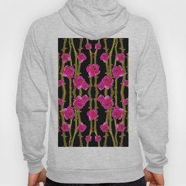 "FUCHSIA PINK ""ROSES & THORNS""  BLACK ART PATTERNS Hoody"