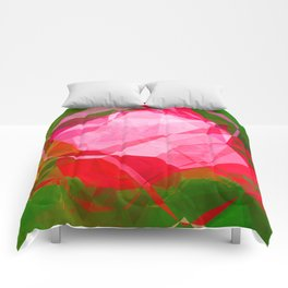 Pink Roses in Anzures 4 Abstract Polygons 1 Comforters