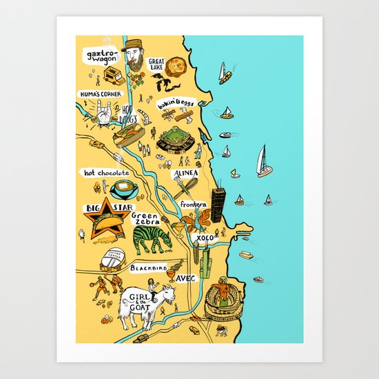 Chicago Food Map Art Print
