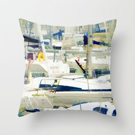 Harbour in the Bretagne Throw Pillow