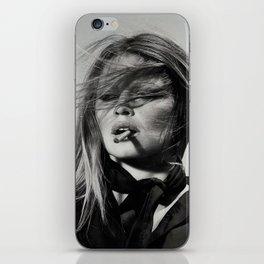 Brigitte Bardot Smoking a Cigarette, Black and White Photograph iPhone Skin