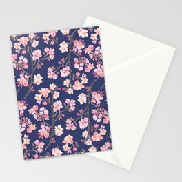 Cherry Blossom Pattern on Navy Stationery Cards