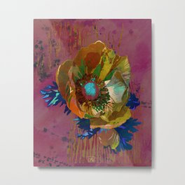 Yellow Gold Anemone Flower Art | Watercolor Floral Art Print | Gold Russet Pink Floral Wall Decor Metal Print