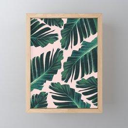 Tropical Blush Banana Leaves Dream #1 #decor #art #society6 Framed Mini Art Print