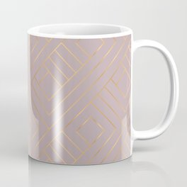Dusty Rose Powder Pastel Gold Geometric Pattern Coffee Mug