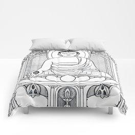 Buddha 02 Black & White Comforters