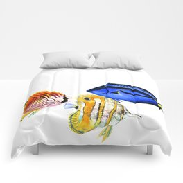 Coral Fish, tropical fish artwork, coral sea world Comforters