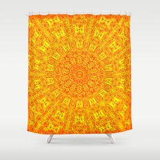 Yellow Earth Mandala Shower Curtain