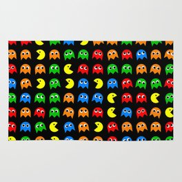 Pacman Seamless Generated monster eat hungry eye mask face rainbow color Rug
