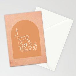 Yoga with pup boho minimal terracotta art Stationery Cards