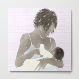 New Mom breastfeeding baby // watercolor portrait of postpartum moment between infant and new mother Metal Print