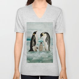 Emperor Penguin Family Unisex V-Neck