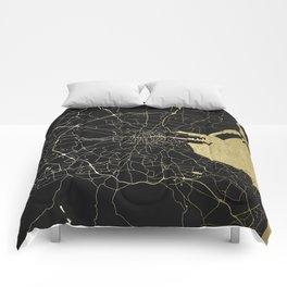 Dublin Ireland Black on Gold Street Map Comforters