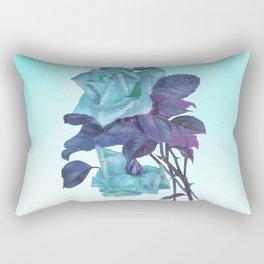 Vintage Turquoise Rose Rectangular Pillow