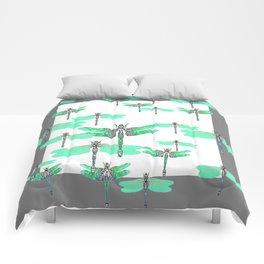 WHITE FLIGHT OF GREEN DRAGONFLIES GREY DESIGN Comforters