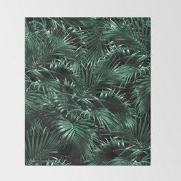 Tropical Palm Leaf Jungle Night #1 #tropical #decor #art #society6 Throw Blanket
