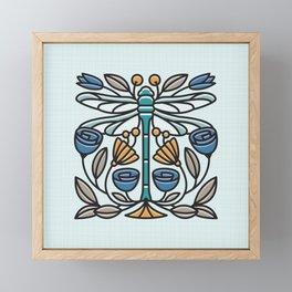 Dragonfly tile Framed Mini Art Print