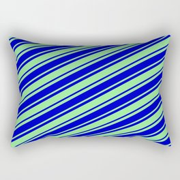 Light Green and Blue Colored Lined Pattern Rectangular Pillow