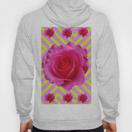 CONTEMPORARY CHARTREUSE PINK ROSES ABSTRACT GARDEN ART Hoody