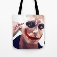 christian Tote Bags featuring Christian Bale by Pazu Cheng