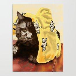 Dismayed Black Cat Poster