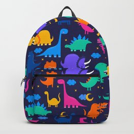 Dinosaurs At Night Rainbow Dinosaur Kids Pattern Backpack