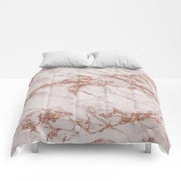 Trendy elegant rose gold glitter gray marble Comforters