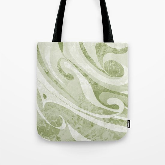 Abstract Green Waves Design Tote Bag