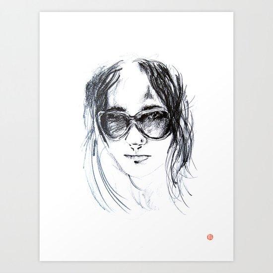 Sunglasses Girl Art Print