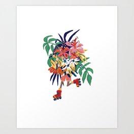 Floral Roller Babe Art Print