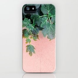 Pink Green Leaves iPhone Case