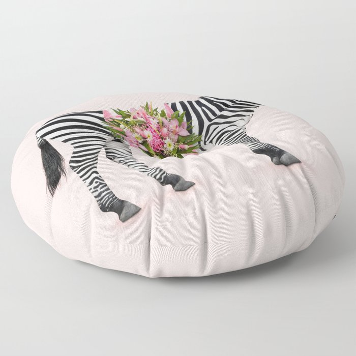 FLORAL ZEBRA Floor Pillow