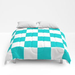 Large Checkered - White and Cyan Comforters
