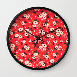 05 Ditsy floral pattern. Red background. White and pink flowers. Wall Clock