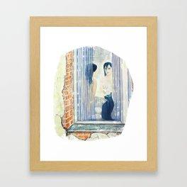 Katze am Fenster, Frau vor dem Spiegel Framed Art Print