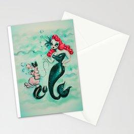 Glamorous Mermaid with Pink Poodle Mermaid Stationery Cards