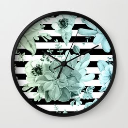 Succulents in the Garden Teal Blue Green Gradient with Black Stripes Wall Clock