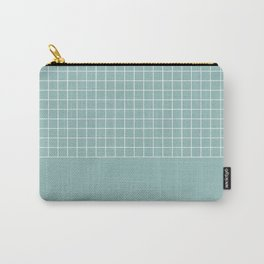 White grid on turquoise Carry-All Pouch